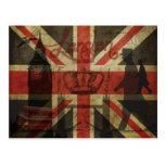 Bandera británica, autobús rojo, Big Ben y autores Postales