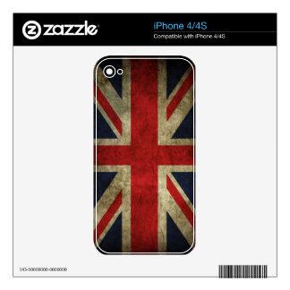 Bandera británica BRITÁNICA de Union Jack de la an iPhone 4 Calcomanías