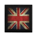 Bandera británica BRITÁNICA de Union Jack de la an Joyero Cuadrado Pequeño