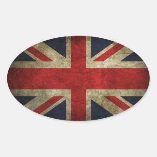 Bandera británica BRITÁNICA de Union Jack de la Pegatina Ovalada