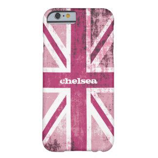 Bandera BRITÁNICA británica de Union Jack en rosa Funda De iPhone 6 Barely There