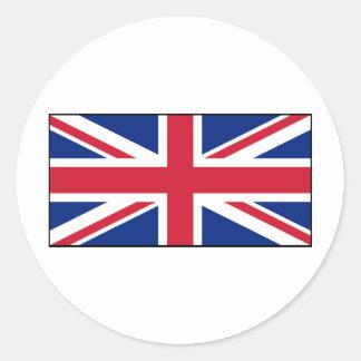 Bandera británica BRITÁNICA de Union Jack Etiqueta Redonda