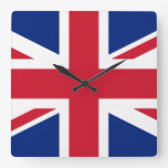 Bandera británica BRITÁNICA de Union Jack Reloj Cuadrado