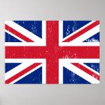 Bandera británica BRITÁNICA del inglés de Gran Bre Posters