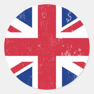 Bandera británica BRITÁNICA del inglés de Gran Pegatina Redonda