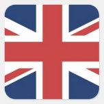 Bandera británica calcomanía cuadradas