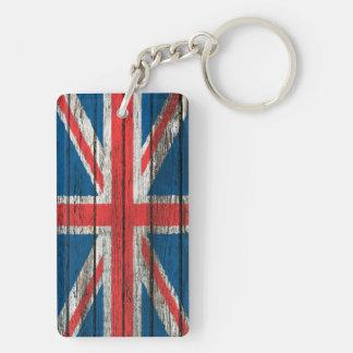 Bandera británica con efecto de madera áspero del  llavero rectangular acrílico a doble cara
