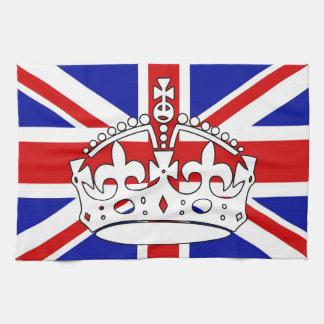 Bandera británica con la toalla de la corona