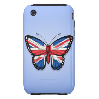 Bandera británica de la mariposa en azul iPhone 3 tough cárcasa