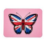 Bandera británica de la mariposa en rosa iman de vinilo