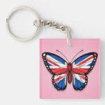 Bandera británica de la mariposa en rosa llaveros