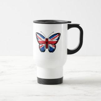 Bandera británica de la mariposa taza de café