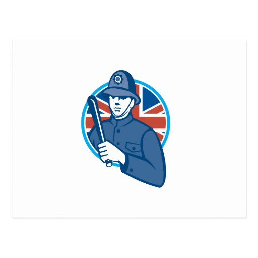 Bandera británica de la matraca del policía de postal