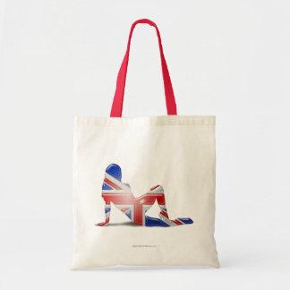 Bandera británica de la silueta del chica bolsa tela barata