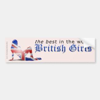 Bandera británica de la silueta del chica pegatina de parachoque