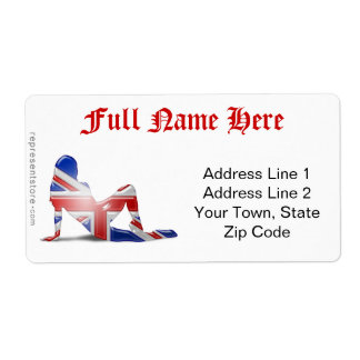 Bandera británica de la silueta del chica etiquetas de envío