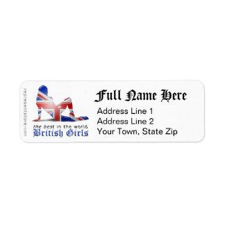 Bandera británica de la silueta del chica etiquetas de remite