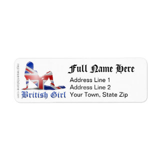 Bandera británica de la silueta del chica etiqueta de remite