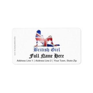 Bandera británica de la silueta del chica etiqueta de dirección