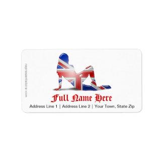 Bandera británica de la silueta del chica etiquetas de dirección