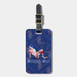 Bandera británica de la silueta del chica etiquetas bolsas