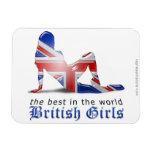 Bandera británica de la silueta del chica imán rectangular
