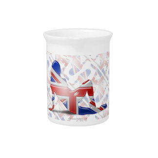 Bandera británica de la silueta del chica jarras para bebida