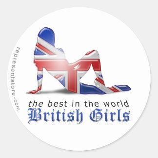 Bandera británica de la silueta del chica pegatina redonda