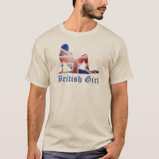 Bandera británica de la silueta del chica playera