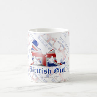 Bandera británica de la silueta del chica taza clásica