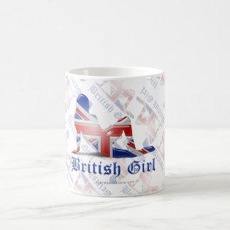 Bandera británica de la silueta del chica taza de café