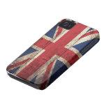 Bandera británica de madera vieja iPhone 4 Case-Mate cobertura