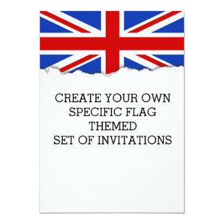 """Bandera británica de Reino Unido Invitación 5"""" X 7"""""""