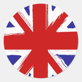 Bandera británica de Union Jack del estilo del Pegatina Redonda