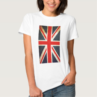Bandera británica de Union Jack del vintage Polera