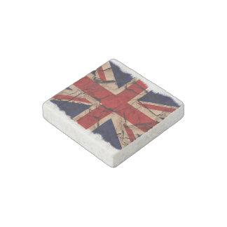 Bandera BRITÁNICA de Union Jack del vintage sucio Imán De Piedra
