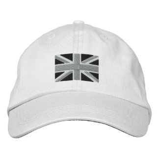 Bandera BRITÁNICA de Union Jack en blanco y negro Gorras Bordadas