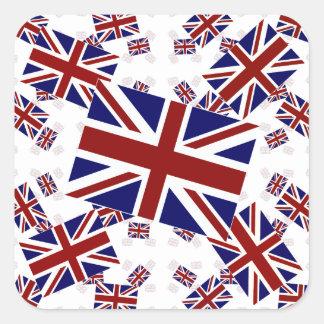 Bandera BRITÁNICA de Union Jack en capas Pegatinas Cuadradases