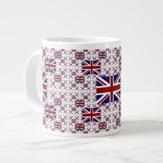 Bandera BRITÁNICA de Union Jack en capas Taza Grande