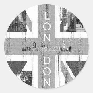 Bandera británica de Union Jack Etiqueta Redonda