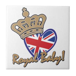 Bandera BRITÁNICA del corazón del bebé real Teja Cerámica