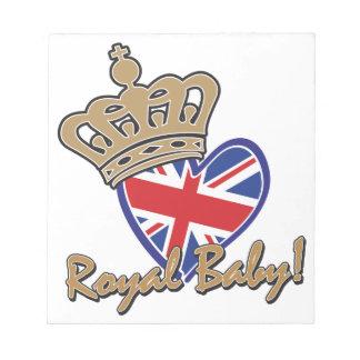 Bandera BRITÁNICA del corazón del bebé real Libretas Para Notas