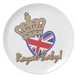 Bandera BRITÁNICA del corazón del bebé real Plato