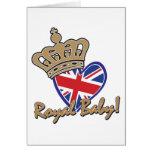Bandera BRITÁNICA del corazón del bebé real Tarjetón