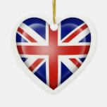 Bandera británica del corazón en blanco adorno para reyes
