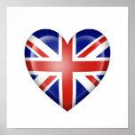 Bandera británica del corazón en blanco impresiones