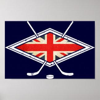 Bandera británica del hockey sobre hielo posters