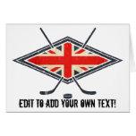 Bandera británica del hockey sobre hielo tarjeta de felicitación