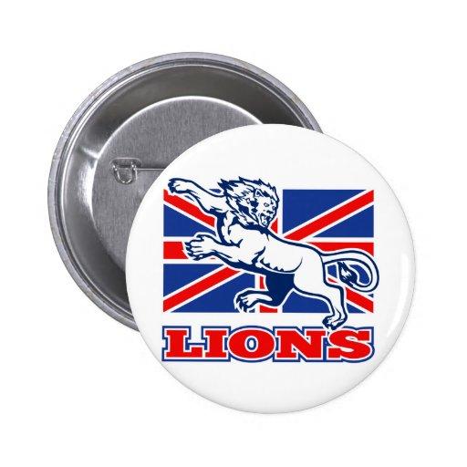 Bandera británica del Union Jack de Lionattacking  Pin