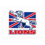 Bandera británica del Union Jack de Lionattacking  Tarjetas Postales